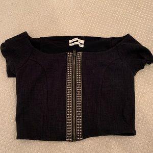 Black patterned crop top
